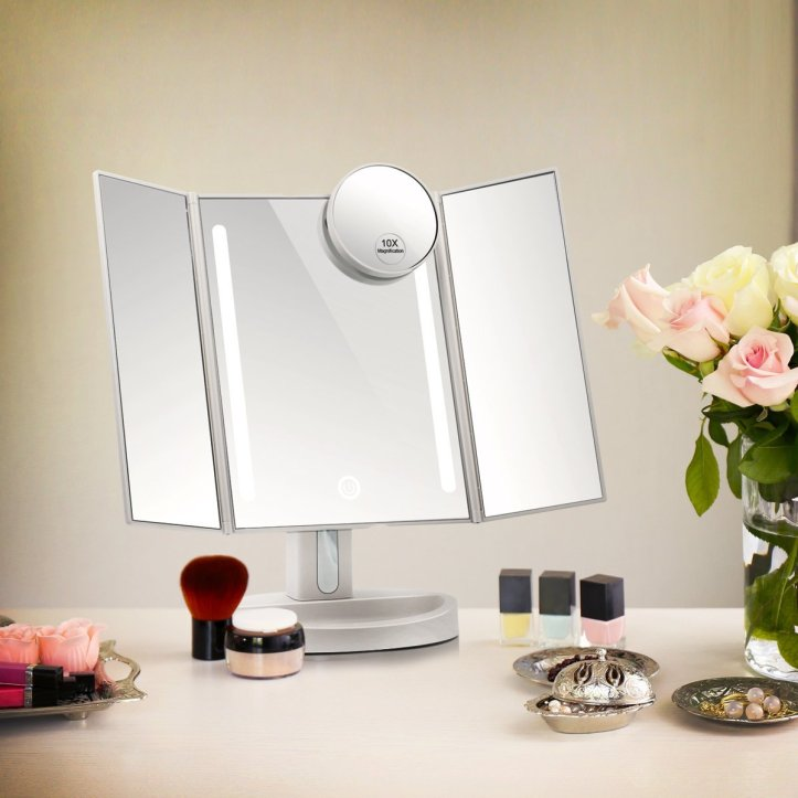 Terresa Led Lighted Makeup Mirror with 10X Magnifying Small Mirror - Touch Screen and Dual Power Supply - Adjustable Stand Desk Trifold Vanity Mirror with Lights - B06Y2CCF8X_5.jpg