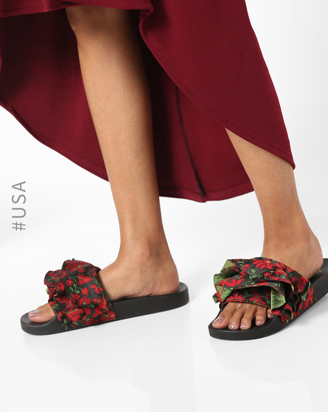 qupid-ruffled-slip-on-flat-sandals